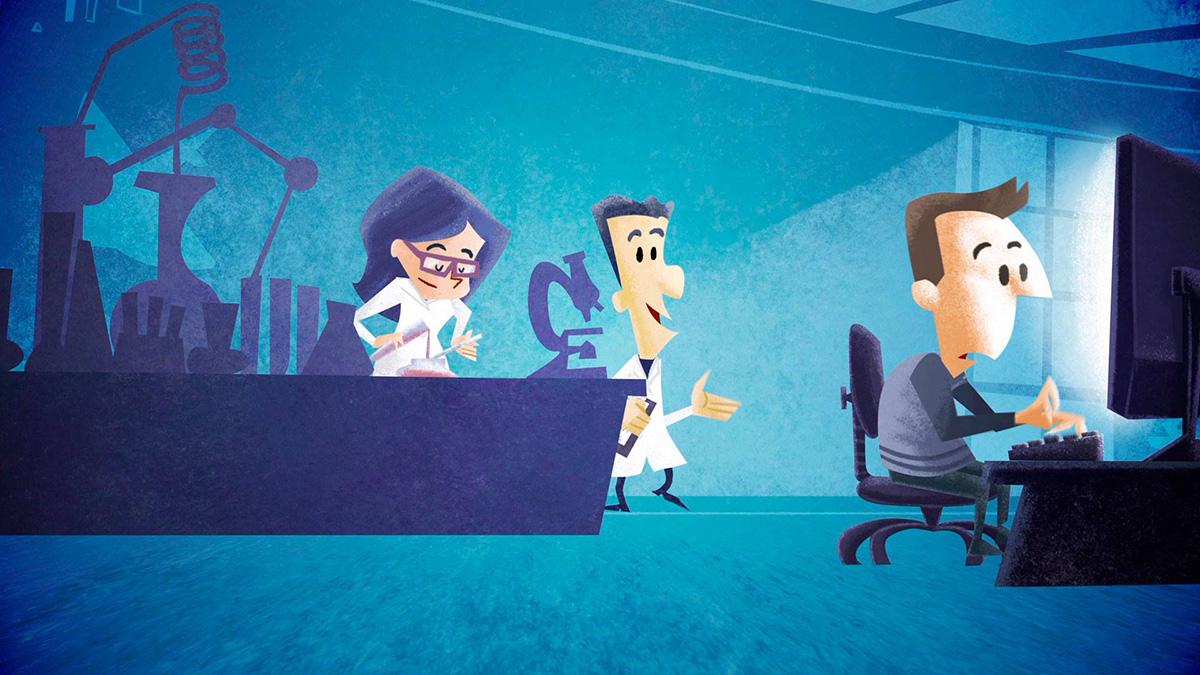científicos, fotograma de animación por I. Mouronte B.